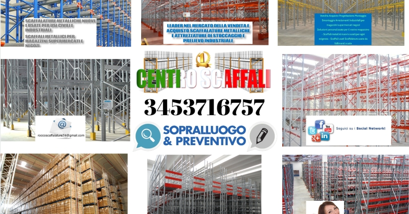 Preventivo Scaffalature Metalliche.Offerta Porta Pallet Certificato 10 Vendo Diversi Lotti Di